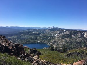 Looking south from Mt. Elwell peak, with Long Lake and the Sierra Buttes.